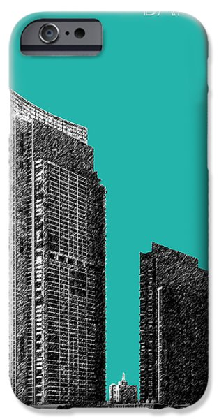 Pen And Ink iPhone Cases - Bangkok Thailand Skyline 3 - Teal iPhone Case by DB Artist