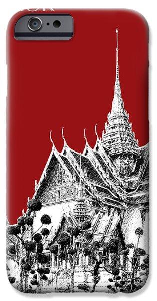 Bangkok iPhone Cases - Bangkok Thailand Skyline Grand Palace - Dark Red iPhone Case by DB Artist