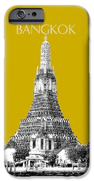 Pen And Ink iPhone Cases - Bangkok Thailand Skyline Wat Arun - Gold iPhone Case by DB Artist