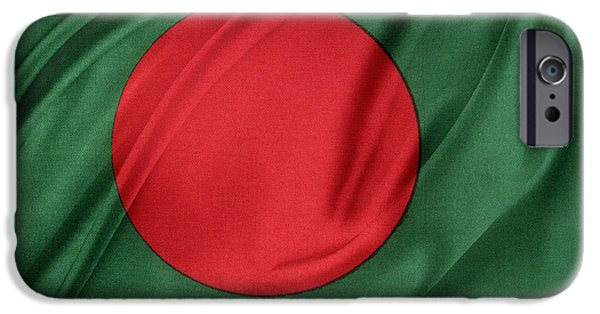 Wavy iPhone Cases - Bangladesh flag iPhone Case by Les Cunliffe