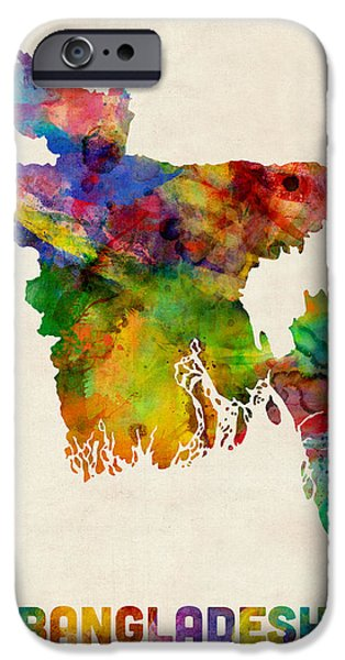 Map Of Germany iPhone Cases - Bangladesh Watercolor Map iPhone Case by Michael Tompsett
