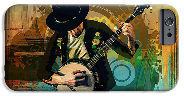 Young Mixed Media iPhone Cases - Banjo Man iPhone Case by Bedros Awak