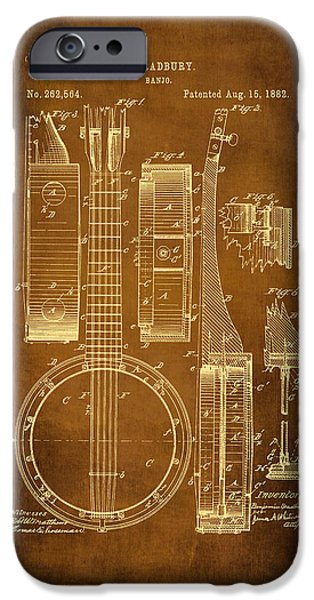 Dirty Drawings iPhone Cases - Banjo Patent Drawing - Antique iPhone Case by Maria Angelica Maira