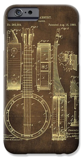 Dirty Drawings iPhone Cases - Banjo Patent Drawing - Brown iPhone Case by Maria Angelica Maira