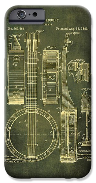 Dirty Drawings iPhone Cases - Banjo Patent Drawing - Cyan iPhone Case by Maria Angelica Maira