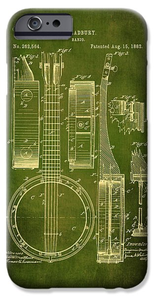 Dirty Drawings iPhone Cases - Banjo Patent Drawing - Green  iPhone Case by Maria Angelica Maira