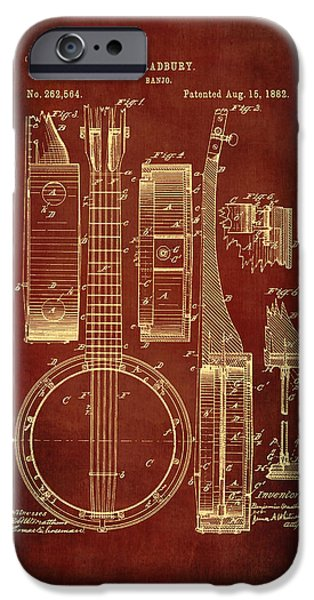 Acoustical Digital Art iPhone Cases - Banjo Patent Drawing - Burgundy iPhone Case by Maria Angelica Maira