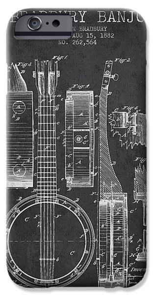 Banjo patent Drawing from 1882 Dark iPhone Case by Aged Pixel
