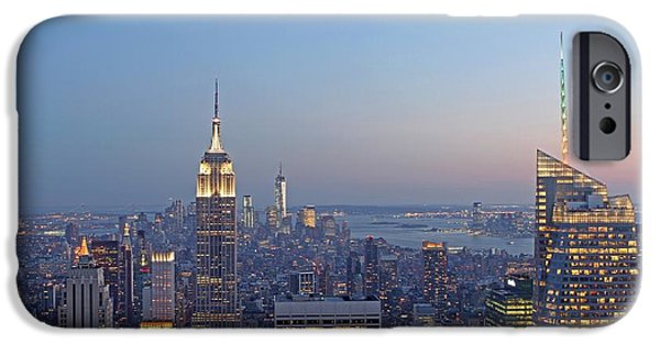 Nast iPhone Cases - Bank of America and Empire State Building iPhone Case by Juergen Roth