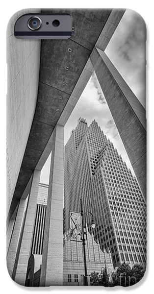 Symphony Hall iPhone Cases - Bank of America Building through the Pillars of the Jesse Jones Hall - Houston Texas iPhone Case by Silvio Ligutti