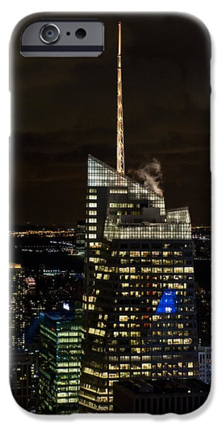 Bank Of America iPhone Cases - Bank of America Tower at night iPhone Case by Gary Eason