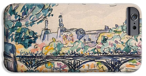 Pen And Ink iPhone Cases - Bank of the Seine near the Pont des Arts iPhone Case by Paul Signac