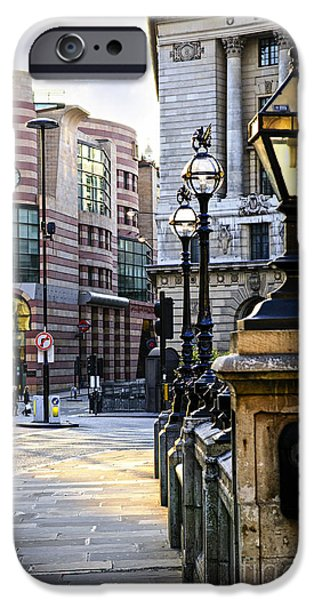 Lamppost iPhone Cases - Bank station in London iPhone Case by Elena Elisseeva
