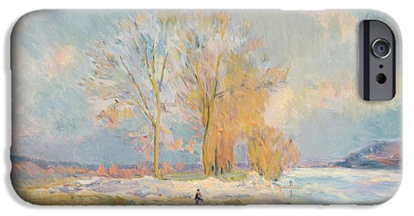 Wintertime iPhone Cases - Banks of the Seine and Vernon in Winter iPhone Case by Albert Charles Lebourg