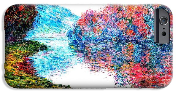 Park Scene Mixed Media iPhone Cases - Banks Seine River at Jenfosse France Enhanced iPhone Case by Claude Monet - L Brown