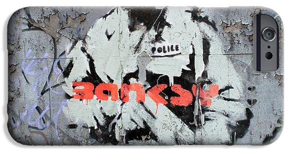 Police Art iPhone Cases - Banksy  iPhone Case by A Rey
