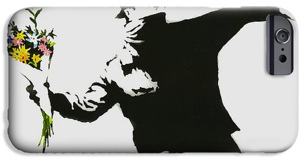 Flower Bombs iPhone Cases - Banksy Flower Thrower iPhone Case by Graffiti Street Art