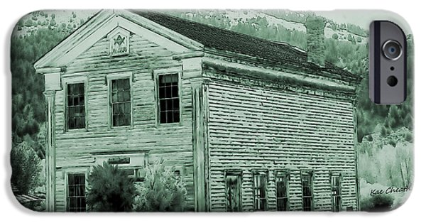 Toning iPhone Cases - Bannack Masonic Hall with Toning iPhone Case by Kae Cheatham