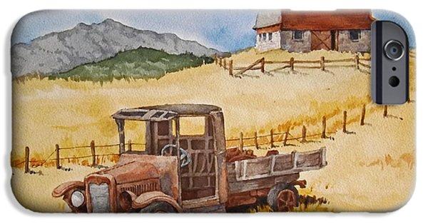 Farm Landscape Pastels iPhone Cases - Bannack Montana Truck iPhone Case by Dan Krapf