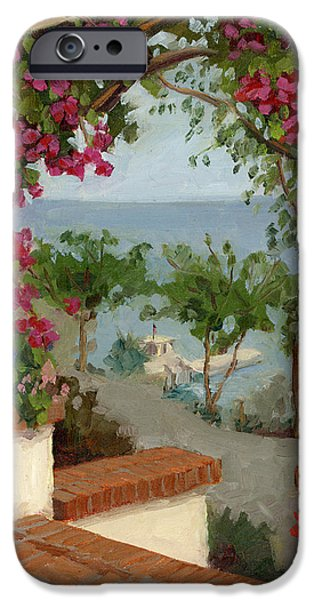 Porch iPhone Cases - Banning House Bougainvillea iPhone Case by Alice Leggett