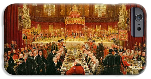 Eating iPhone Cases - Banquet Given By The Corporation Of London To The Prince Regent, The Emperor Of Russia And The King iPhone Case by Luke Clennell