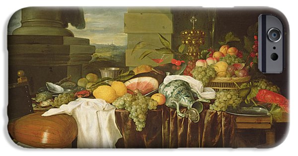 Lute iPhone Cases - Banquet Still Life Oil On Canvas iPhone Case by Andries Benedetti