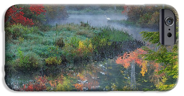 Connecticut Landscape iPhone Cases - Bantam River Autumn Square iPhone Case by Bill  Wakeley