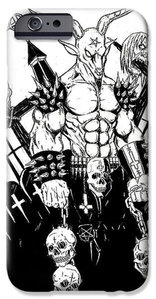 Religious Drawings iPhone Cases - Baphomet Graveyard BW iPhone Case by Alaric Barca