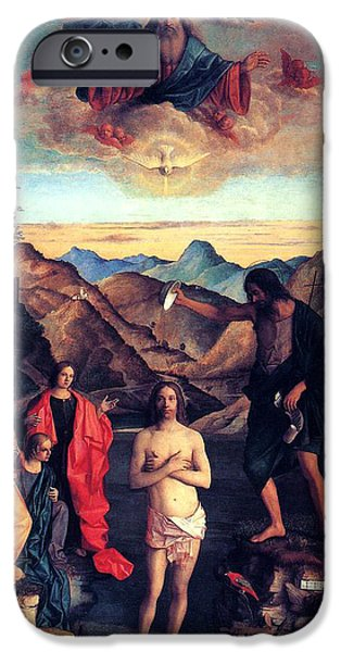 Baptism Paintings iPhone Cases - Baptism of Christ with Saint John 1502 Giovanni Bellini iPhone Case by Karon Melillo DeVega