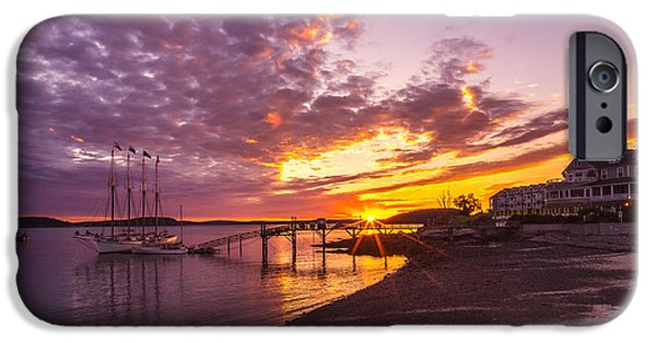 Sailboats iPhone Cases - Bar Harbor Dawn iPhone Case by Cynthia Farr-Weinfeld