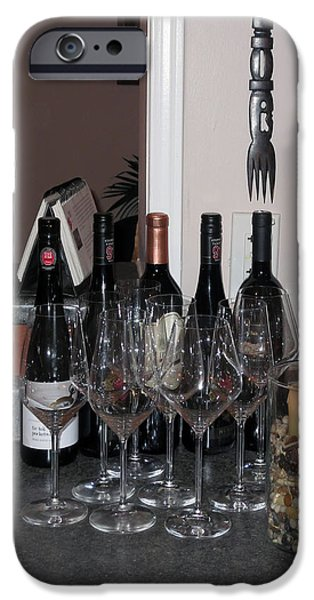 Wine Bottles iPhone Cases - Bar Wine Bottles Glasses decorations festivals holidays thanksgiving celebrations iPhone Case by Navin Joshi