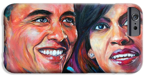Michelle Obama Paintings iPhone Cases - Barack and Michelle Obama iPhone Case by Anju Saran