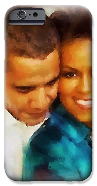 Barack and Michelle iPhone Case by Wayne Pascall