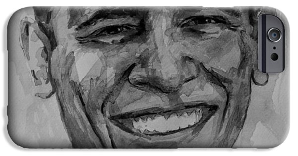 Obama iPhone Cases - Barack in BW iPhone Case by Laur Iduc