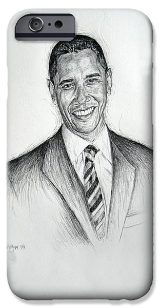 Barack Obama 2 iPhone Case by Michael Morgan