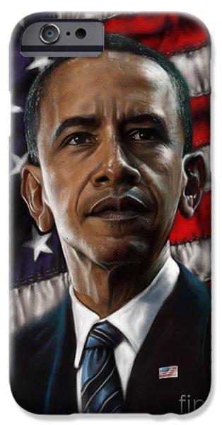 Barack Obama iPhone Case by Andre Koekemoer
