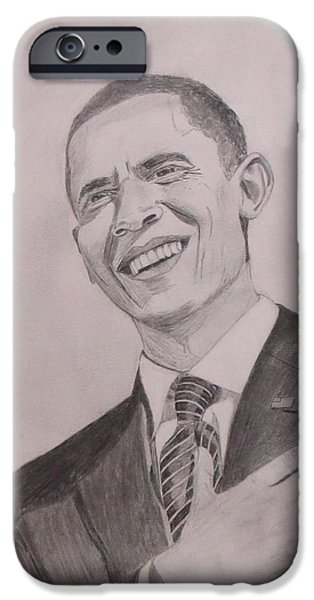 President Obama Drawings iPhone Cases - Barack Obama iPhone Case by Artistic Indian Nurse