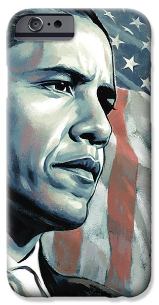 Obama iPhone Cases - Barack Obama Artwork 2 B iPhone Case by Sheraz A