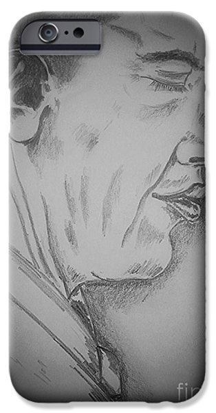 President Obama Drawings iPhone Cases - Barack Obama iPhone Case by Collin A Clarke