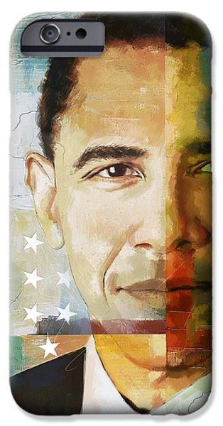 U.s Heroes iPhone Cases - Barack Obama iPhone Case by Corporate Art Task Force