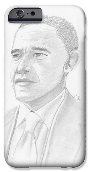 President Obama Drawings iPhone Cases - Barack Obama iPhone Case by Jose Valeriano