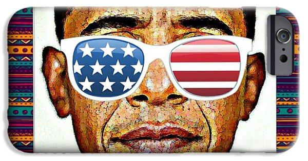 Barack Obama Mixed Media iPhone Cases - Barack Obama iPhone Case by Nuno Marques