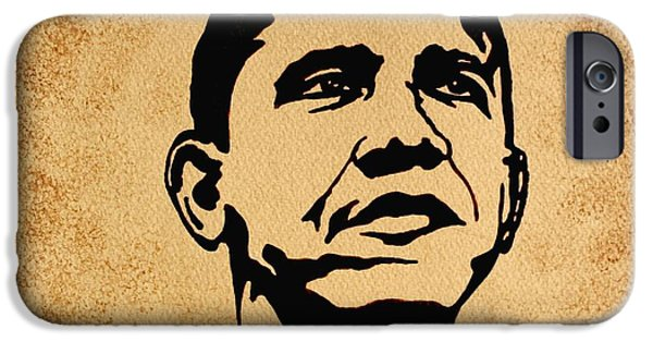 Barack Obama iPhone Cases - Barack Obama original coffee painting iPhone Case by Georgeta  Blanaru