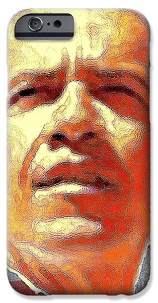Obama iPhone Cases - Barack Obama American President - Digital Art iPhone Case by Peter Fine Art Gallery  - Paintings Photos Digital Art
