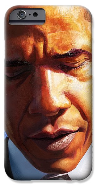 Recently Sold -  - President Obama iPhone Cases - Barack Obama with Flag iPhone Case by Miquel Nolla