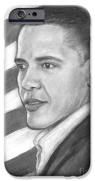 Barack Obama Drawings iPhone Cases - Barack iPhone Case by Sue Carmicle
