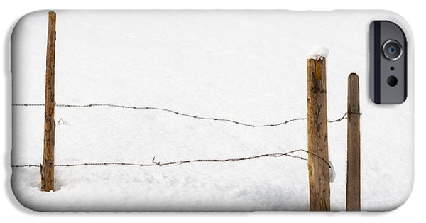 Barbed Wire Fences iPhone Cases - Barb wire fence in winter minimalist image iPhone Case by Matthias Hauser