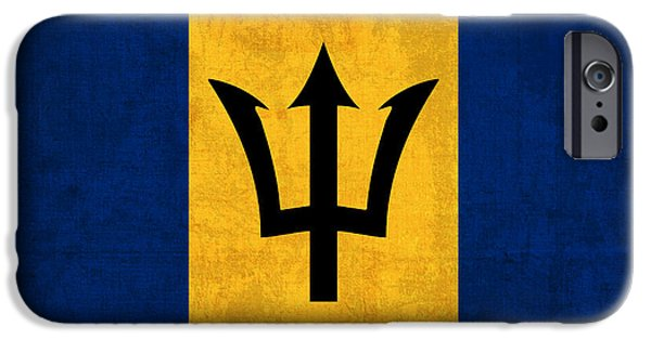 Recently Sold -  - Nation iPhone Cases - Barbados Flag Vintage Distressed Finish iPhone Case by Design Turnpike