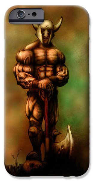 Serpent Mixed Media iPhone Cases - Barbarian King iPhone Case by Kim Gauge