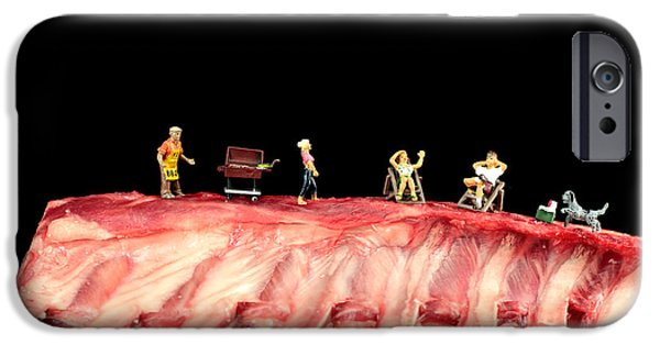 Board iPhone Cases - Barbecue on lamb ribs iPhone Case by Paul Ge